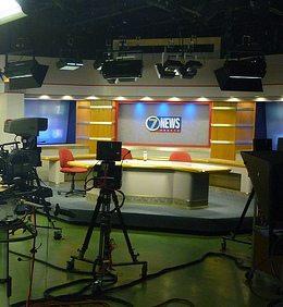 TV news set-photo by Phil Rankin