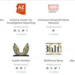 Logos of some nonprofit newsrooms