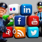 A cartoon of police and social media logos