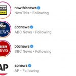 Screenshot of news organizations' instagram accounts